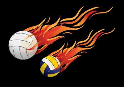 Väggdekor vektor illustration volleyboll eld idrott