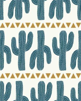Väggdekor vektor kaktus rand och trianglar grädde sömlös repetition mönster bakgrund