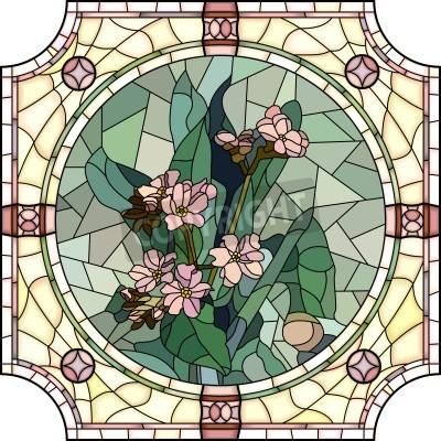 Väggdekor Vektor mosaik med stora celler av blommor glömmer mig inte med knoppar i rund glasmålning ram.