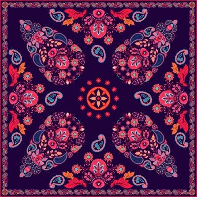 Väggdekor Vektor Paisley blom- fyrkantig design