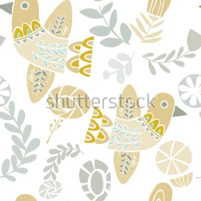 Väggdekor Vektor pastell folkloric birds and flowers seamless pattern on a white background. Perfekt för hantverk, tyger, papper, tapeter