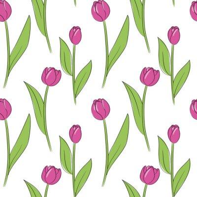 Väggdekor vektor rosa enkla tulpanblommor sömlösa mönster