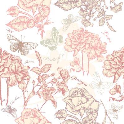 Väggdekor Vektor seamless tapetmönster med rosor