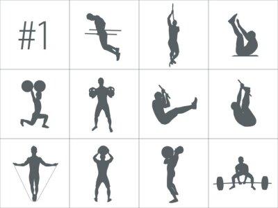 Väggdekor Vektor silhuetter av människor som gör fitness och crossfit träning