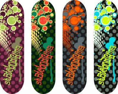 Väggdekor Vektor skateboard design pack med graffiti taggar och abstrakta former