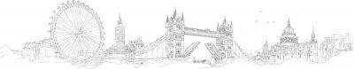 Väggdekor vektor skiss handen ritning panorama London siluett