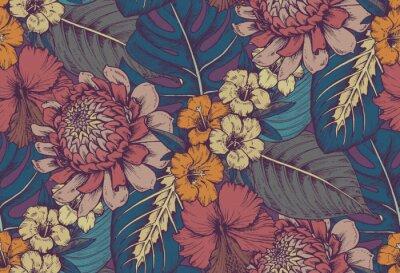 Väggdekor Vektor sömlöst mönster med kompositioner av handgjorda tropiska blommor