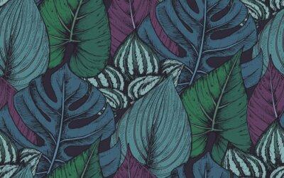 Väggdekor Vektor sömlöst mönster med kompositioner av handgjorda tropiska växter