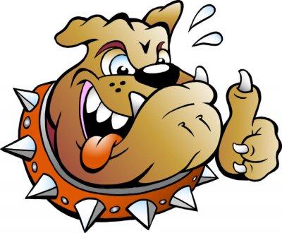 Väggdekor Vektor tecknad illustration av en upphetsad Bull Dog ger tummen upp