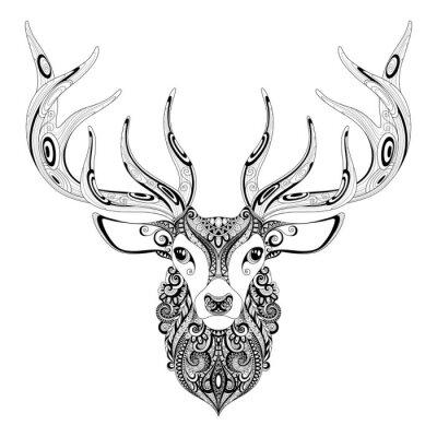 Väggdekor Vektor Utsmyckad Deer Horned Head