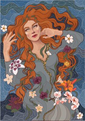 Väggdekor vektor vacker rödhårig tjej i en gammaldags klänning, vågor av floden, vatten och blommor