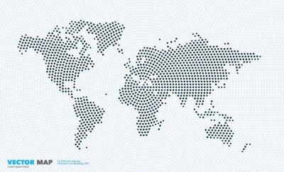 Väggdekor Vektor världskarta med rundor, fläckar, prickar för affärsmallar