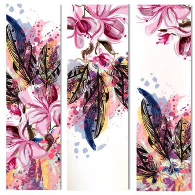 Väggdekor Vektor vertikal broschyrer som med magnolia blommor och fjädrar