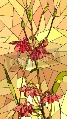 Väggdekor Vektor vertikal mosaik med stora celler av akleja blommor på gul.