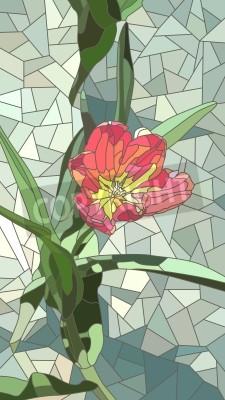 Väggdekor Vektor vertikal mosaik med stora celler röda tulpan blommor på grönt.