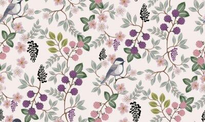 Väggdekor Vektorillustration av en sömlös blommönster med söta fåglar på våren för bröllop, årsdag, födelsedag och fest. Design för banner, affisch, kort, inbjudan och klippbok