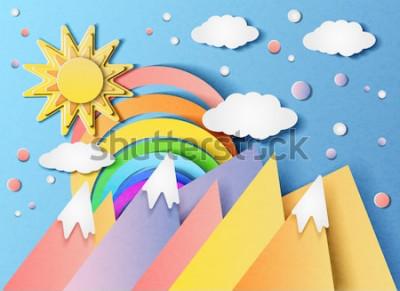 Väggdekor Vektorillustration av ett vackert landskap med solen, regnbågen, molnen och bergen. I stil med klippt papper.