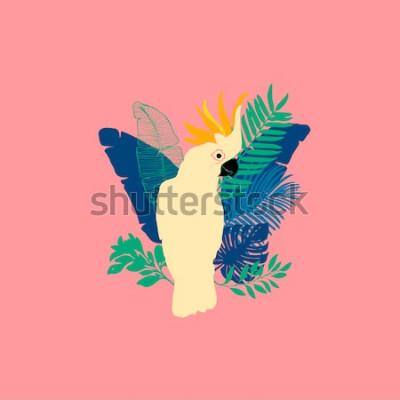 Väggdekor Vektorillustration - Cockatoo papegoja, exotiska fåglar, tropiska blommor, palmblad, paradisfågel