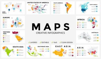 Väggdekor Vektorkarta infographic. Presentation. Global verksamhet marknadsföringskoncept. Färg land. Världens transport geografi data. mall ekonomisk statistik. Världen, Amerika, Afrika, Europa, Asien