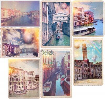 Väggdekor Venedig - gammaldags vykort collage