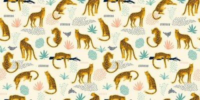 Väggdekor Vestor sömlöst mönster med leoparder och tropiska löv.