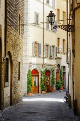 Väggdekor Via Lambertesca gatan vid historiska stadskärnan i Florens, Italien