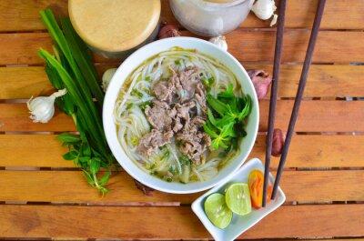 Väggdekor Vietnamesiska Pho på trä bord. Pho är en vietnamesisk traditionell