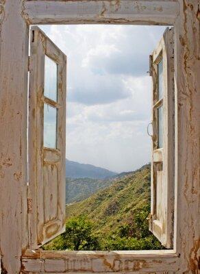 Väggdekor View Från en Old White Window