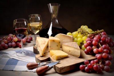 Väggdekor Vin, vindruvor och ost