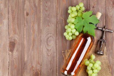Väggdekor Vindruvor, vitt vin flaska och korkskruv