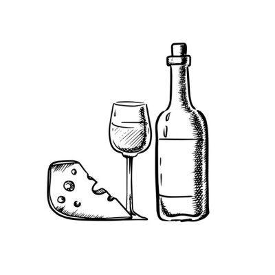 Väggdekor Vinflaskan med glas och ost