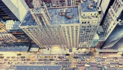 Väggdekor Vintage bild av New York gator från taket