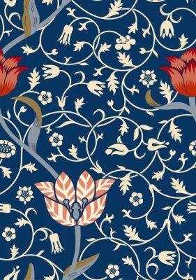 Väggdekor Vintage blommigt sömlöst mönster på mörk bakgrund. Vektor illustration.