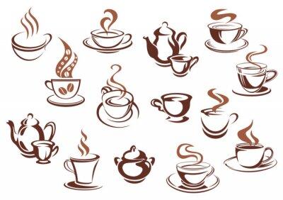 Väggdekor Vintage brun kaffekoppar och krukor