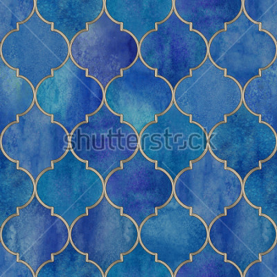 Väggdekor Vintage decorative moroccan seamless pattern with glittering line. Watercolor hand drawn blue purple stained-glass window design. Watercolour oriental elements. Print for textile, wallpaper, wrapping.