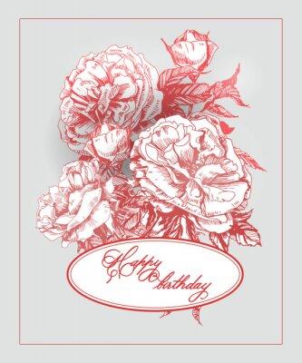 Väggdekor Vintage födelsedagkort med blommande ros och fjärilar. (Används för Boarding Pass, födelsedagskort, inbjudningar, tacka dig att card.) Vector illustration.