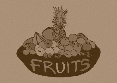 Väggdekor Vintage frukter korg