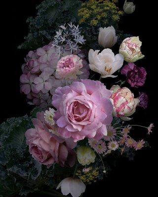 Väggdekor Vintage garden flowers and decorative herbs on black background.