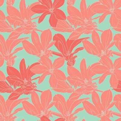 Väggdekor Vintage magnolia blommor seamless.
