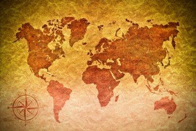 Väggdekor vintage papper med världskartan