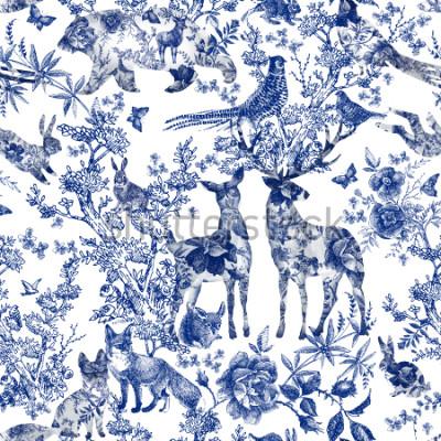 Väggdekor Vintage seamless design with floral and wild animal. Fairytale forest. hand drawn pattern roses flower line graphics. fashion textile design Indigo color.