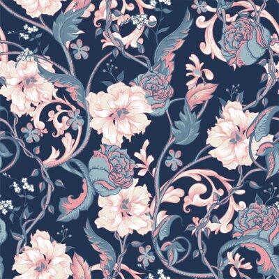 Väggdekor Vintage seamless med blommande magnolior, rosor och kvist