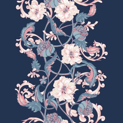 Väggdekor Vintage sömlösa gränsen med blommande magnolior, rosor och kvistar
