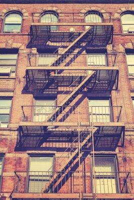 Väggdekor Vintage stil foto av New York byggnad, USA.