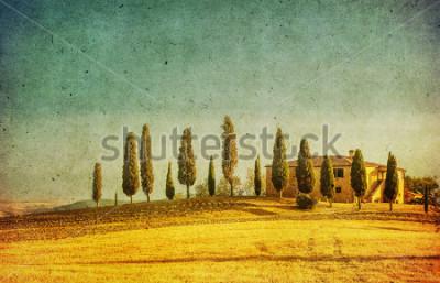 Väggdekor vintage tuscan landscape