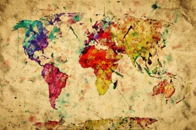 Väggdekor Vintage världskarta. Färgrik måla, vattenfärg på papper för grunge