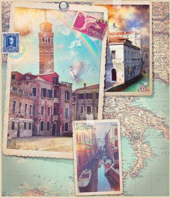 Väggdekor Vintage vykort och collage av Venedig