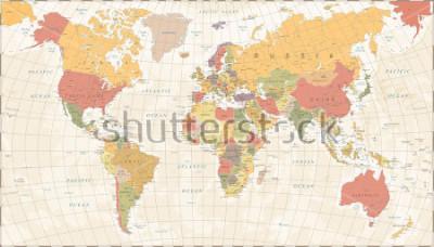 Väggdekor Vintage World Map - Detailed Vector Illustration