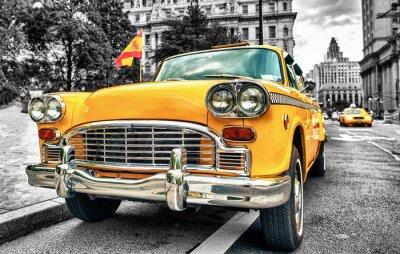 Väggdekor Vintage Yellow Cab i nedre Manhattan - New York