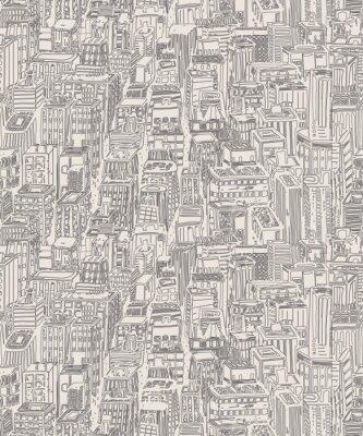 Väggdekor Vintagedesign tidningspapper handritad seamless med storstad. Vector illustration med NYC arkitektur, skyskrapor, megapolis, byggnader, centrum.